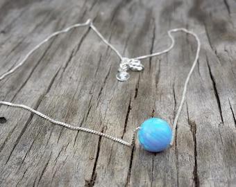 blue opal, Fire Opal,Sterling Silver Necklace,Handmade necklace,Minimalist Jewelry,White opal