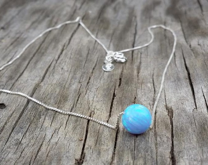 Dreamer Necklace- blue opal, Fire Opal,Sterling Silver Necklace,Handmade necklace,Minimalist Jewelry,White opal