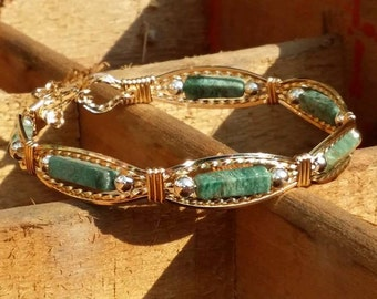 14kt Gold Filled, Sterling Silver, African Jade, Wire wrapped Bracelet