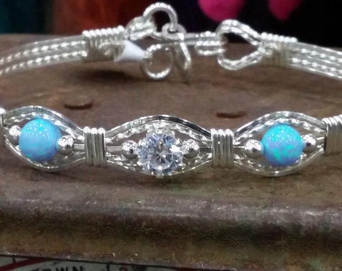 Argentium Silver,Silver, Opal, Blu Opal, Fire Blue opal, cubic zirconia, cz