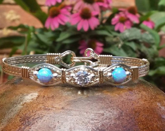 Cynthia- light blue fire opal, 14kt Gold filled, Argentium Silver, Silver, Gold, Opal, Cubic Zirconia, Wire Jewelry, Wire Wrapped