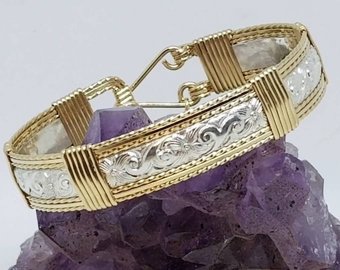 Gold and Silver Bracelet, Wire Wrapped Bracelet