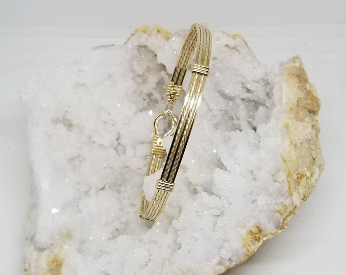 Disco Bangle- 14kt Gold Filled  and Fine Silver bracelet