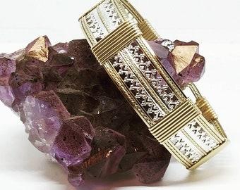 Persian Princess: Gold bracelet, silver filigree bracelet, wire wrapped bracelet.