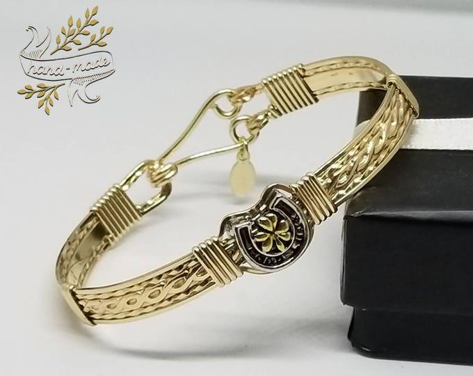 Lucky Me- 14kt Gold filled Bracelet, lucky charm bracelet, elegant bracelet, horse shoe, 4 leaf clover