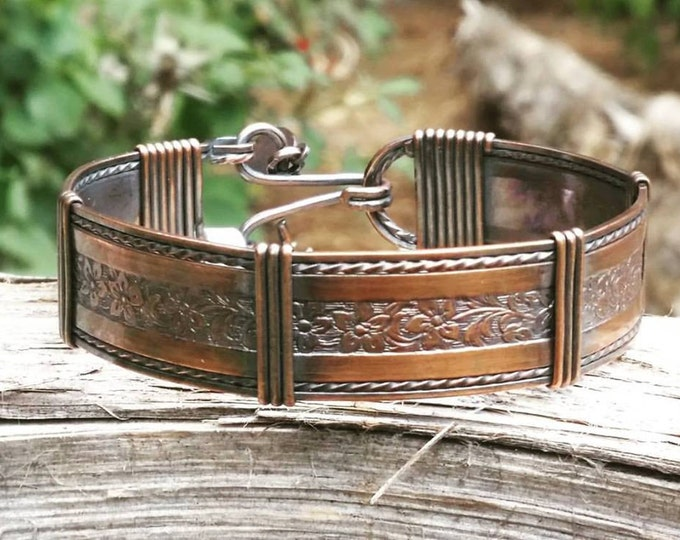 Copper bracelets, wide copper bracelets,wire jewelrywire, wrapped jewelry
