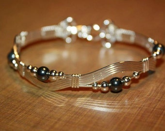 Sterling Silver with black and silver beads bracelet wire wrapped wire jewelry
