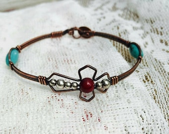 Copper religious cross Bracelet