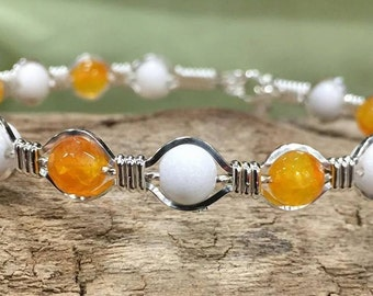 Sterling Silver Yellow gemstone white jade bracelet wire wrapped wire jewelry