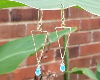 Gold arrows, geometric earrings, blue stone earrings