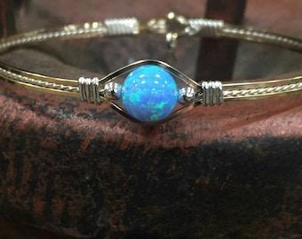 Dreamer- Wire Wrapped Jewelry,Hand Made jewelry,Opal Jewelry,Blue opal Jewelry,Gold Bracelet, Silver Bracelet