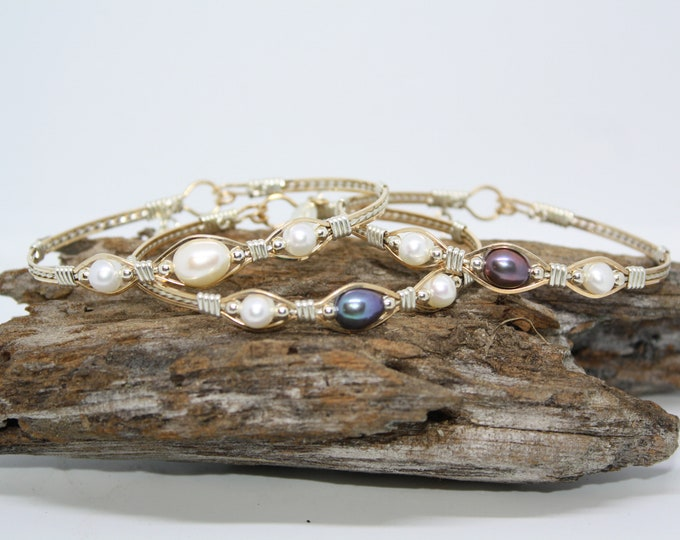 Trinity Bracelet: Freshwater Pearls, Black Pearls, Blue Pearls, Purple Pearls, Pearl bracelet