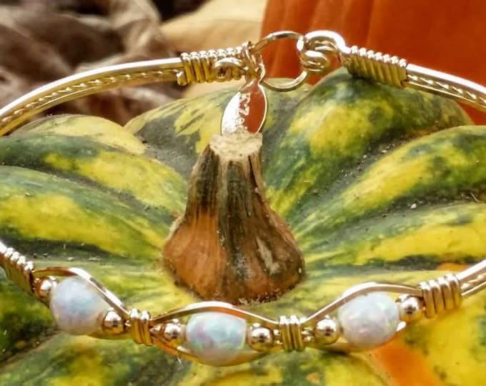 Opal Trinity- 14kt gold filled, white fire opal, opals, white opal, gold bracelet, opal jewelry