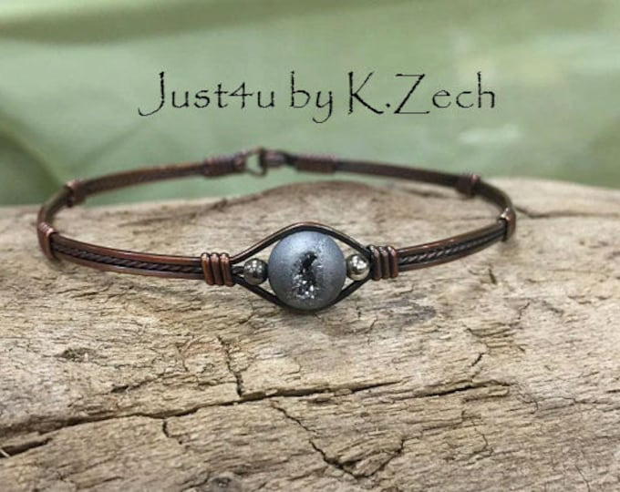 Copper Druzy bracelet bangle