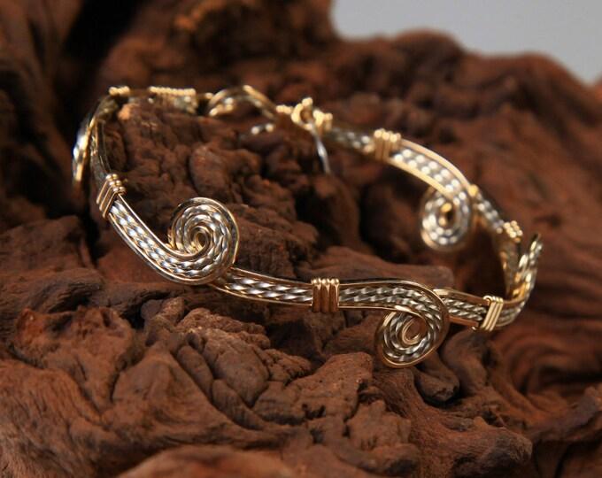 Van Gough Bracelet, Gold, Sterling Silver, Wire wrapped bracelet bangle