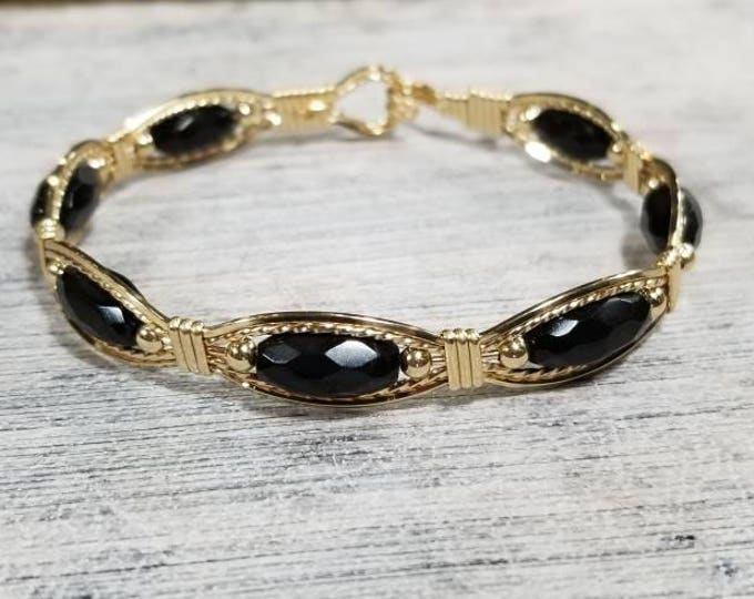 Black Onyx, 14kt Gold Filled, Gemstone Bracelet