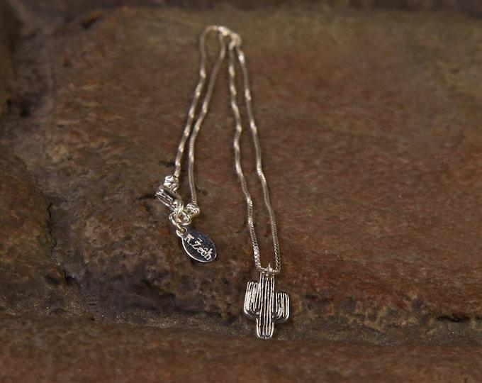 Silver Cactus necklace, Minimalist, Desert, Southwestern