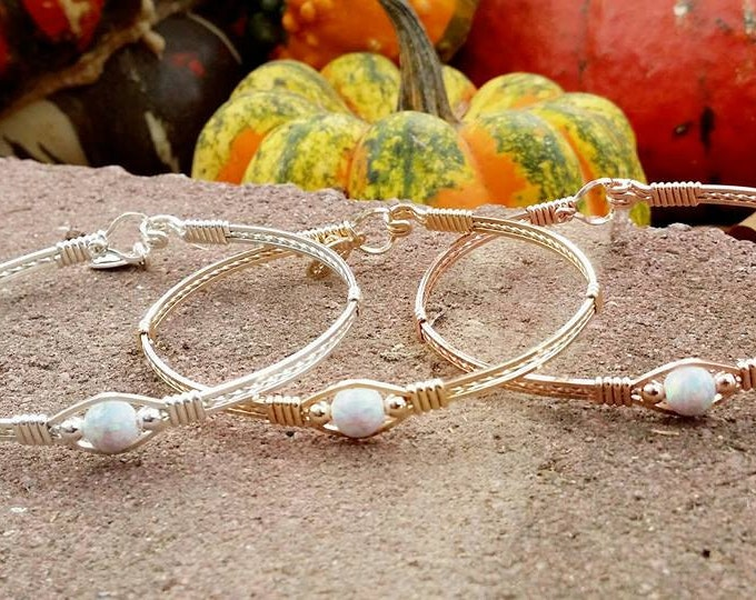 Dreamer: 14kt Yellow Gold Filled, 14kt Rose Gold Filled, Argentium Silver, White Fire Opal, Wire Jewelry, Hand Crafted
