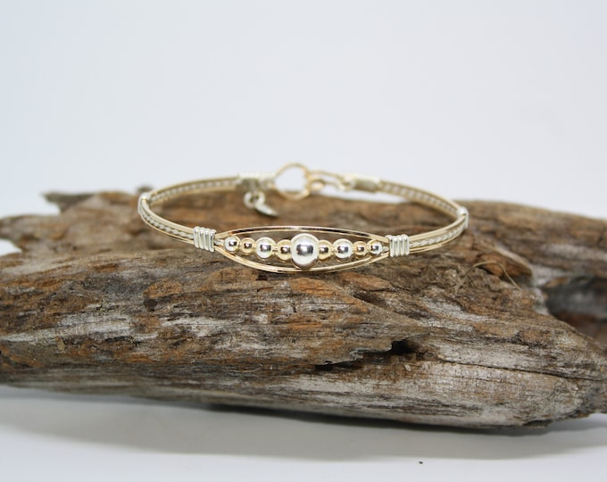 2 tone Meaghan, Gold and Silver Bracelet: Gold Beads, Silver Beads