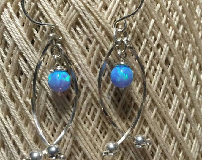 Faith earrings- Blue Fire Opal, Fish, Christian