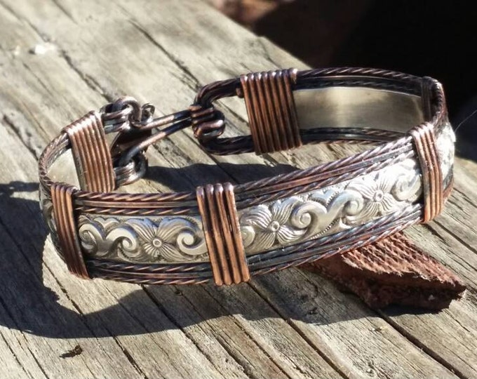 Copper Texan-Sterling silver, Copper, wire wrapped,antiqued copper