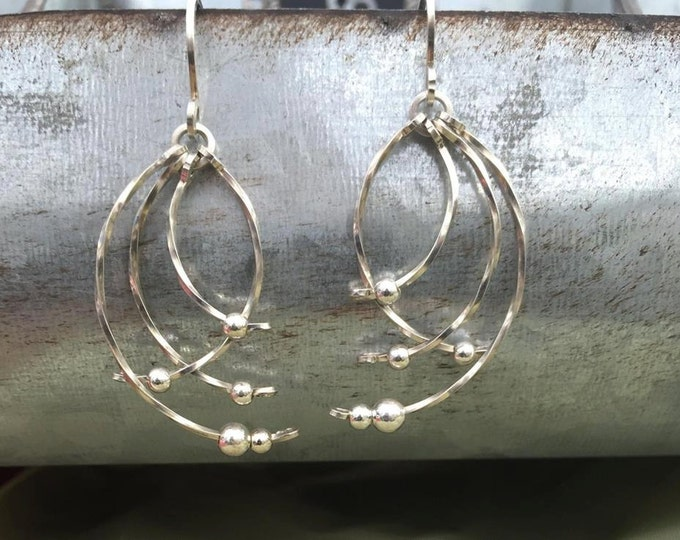 Silver Angel Wings- Argentium Silver earrings wire wrapped wire jewelry