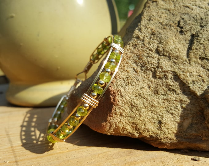 Peridot, 14kt Gold Filled, Gold, Gemstone, Wire Jewelry, Hand Crafted, Handmade, Natural Green gemstone