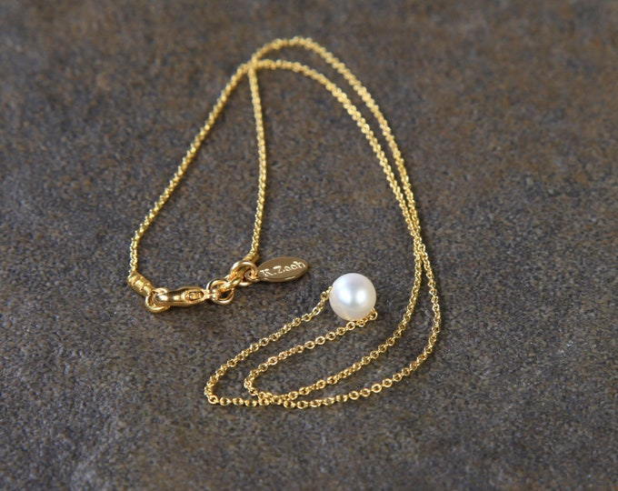 Golden Pearl Necklace, Minimalist Jewelry, Freshwater Pearl Jewelry, Wedding, Anniversary, Birthday, Christmas