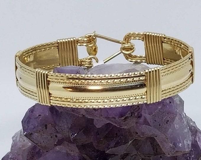 Golden Grace- 14kt Gold, Gold filled Bangle bracelet wire wrapped