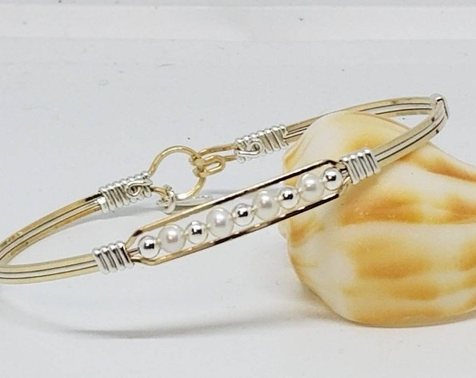 Bella- Freshwater Pearl's, Gold and Silver, Wire Wrapped, Fancy, Classy Bracelet