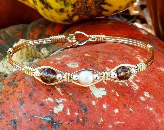 14kt Gold Filled,Wire Jewelry,Gold Wire Jewelry,Smoky Quartz,Freshwater Pearl,Wire Bracelet bracelets,Pearl bracelet