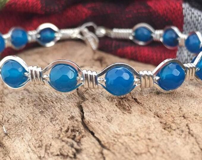 Blue Agate gemstone Sterling silver bracelet bangle