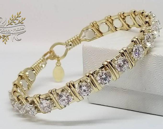 The Queens Crown: Diamond CZ,14kt GF,Sterling Silver,Wire Wrapped Gold Bracelet,Fancy Jewelry
