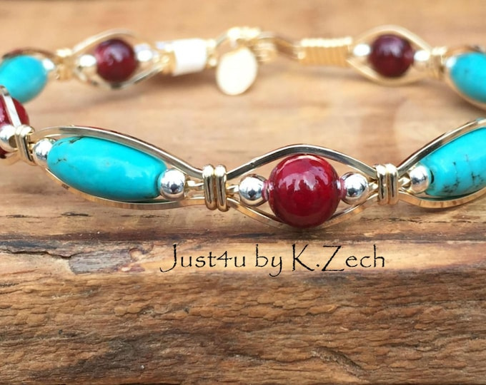 Santa Fe- Gold, Silver,Turquoise and Cranberry Quartz Wire Wrapped, Wire Jewelry