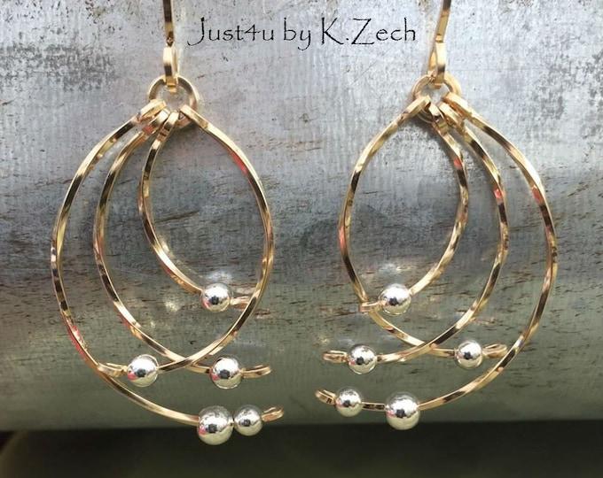 Angel wings: Gold Earrings, sterling silver wire wrapped wire jewelry