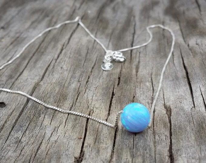 Dreamer Necklace- blue opal, Fire Opal,Sterling Silver Necklace,Handmade necklace,Minimalist Jewelry,White opal