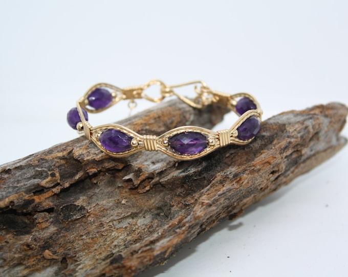 Amethyst Lariat Bracelet: Amethyst Bracelet, Gold and Ametyst