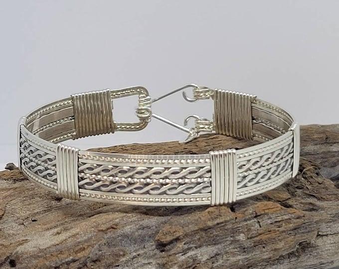Sterling Silver, Silver jewelry, silver bracelet, wire wrapped jewelry,wire wrapped bracelet