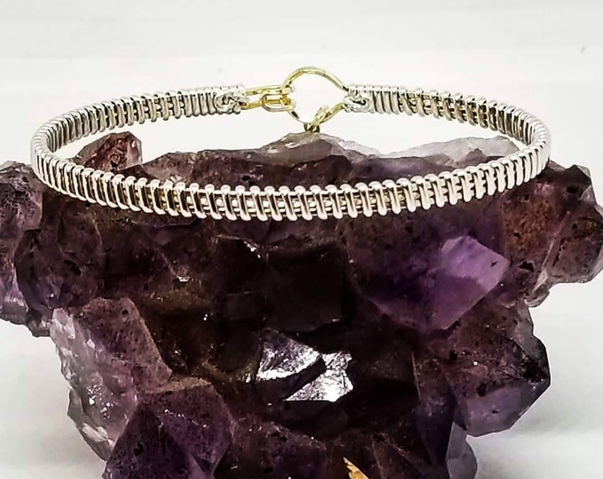 Allure: Fine Silver, Gold fill, wire wrapped bracelet, silver and gold