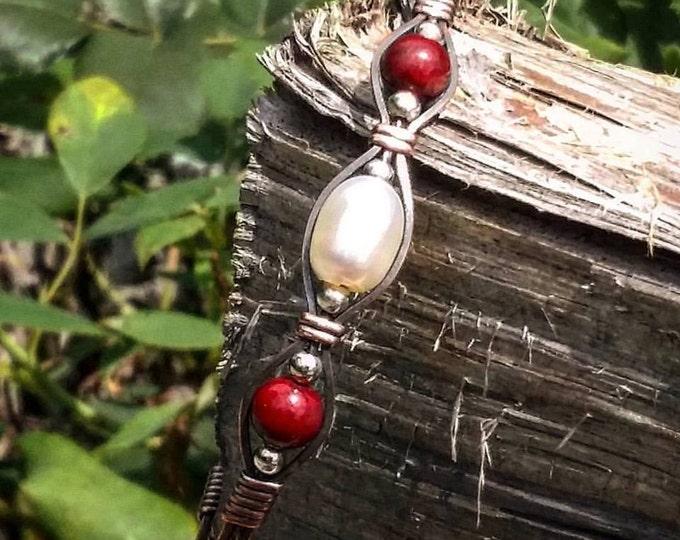 Freshwater Pearl, Cranberry quartz, Copper jewelry, wire wrapped jewelry, wire wrapped bracelet