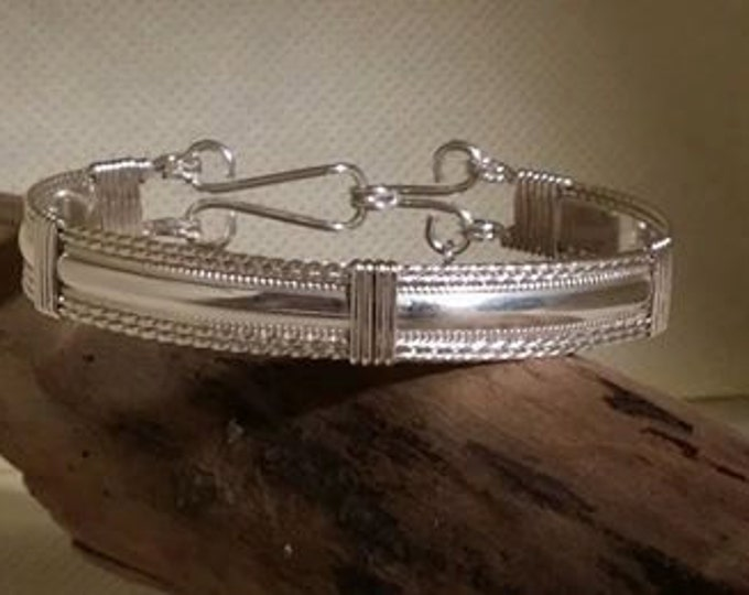 Grace: Argentium and Sterling Silver wire wrapped bracelet