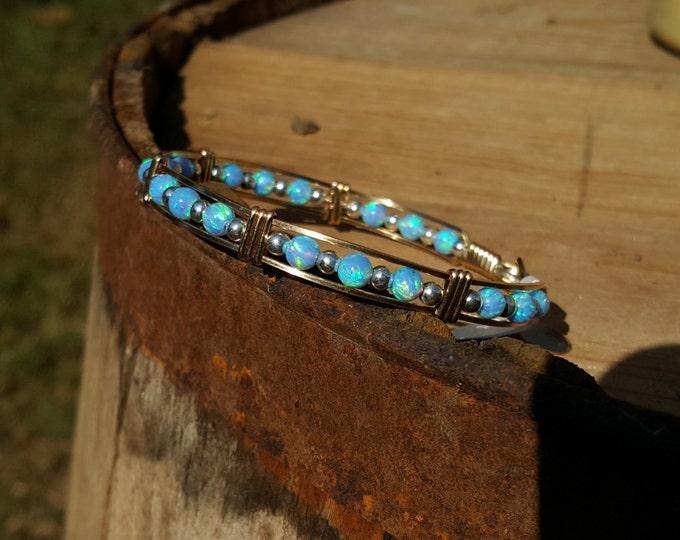 Fire opal, Opal, 14kt Gold Filled, Gemstone Bracelet, Sterling Silver,Wire wrapped,Wire Jewelry