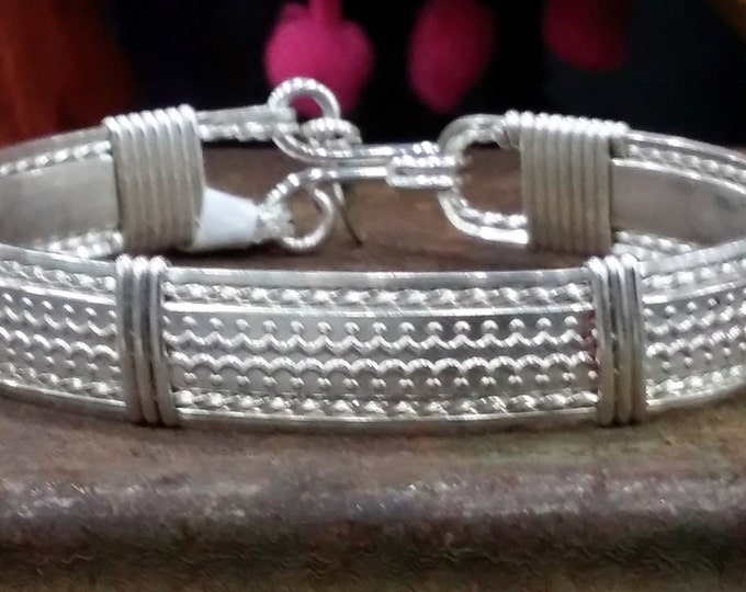 sterling silver, silver, silver bracelet, wire wrapped, wire jewelry, hand made, hand crafted