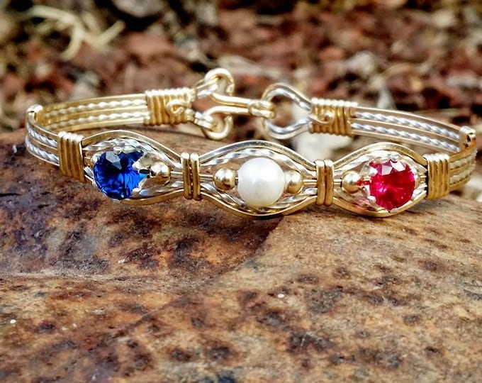 Cynthia: A 14kt Yellow Gold Filled,Gold Jewelry,Birthstone Jewelry,Birthstone Bracelets,Pearl Jewelry,CZ Jewelry,Wire Jewelry,Silver
