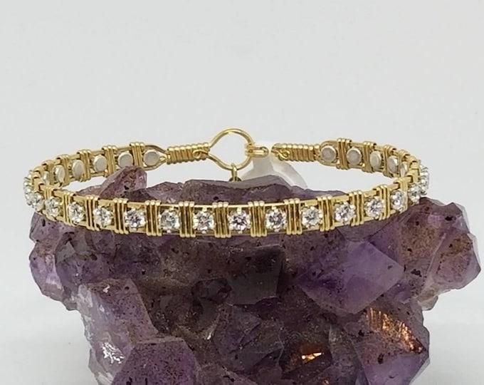 Stardust: Elegant, 14kt Gold Filled, gemstone bracelet, tennis bracelet, fancy bracelet