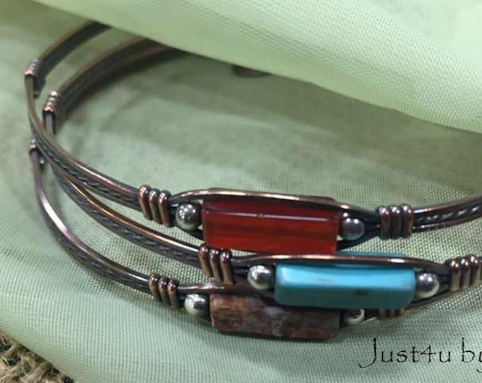 The Brook- Copper gemstone bracelets bangles