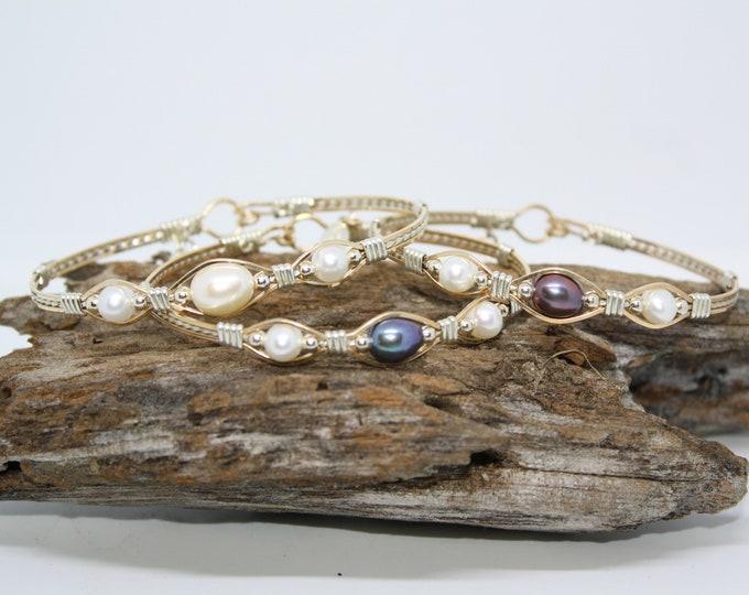 Trinity Bracelet: Freshwater Pearls, Black Pearls, Blue Pearls, Purple Pearls, Pearl bracelet