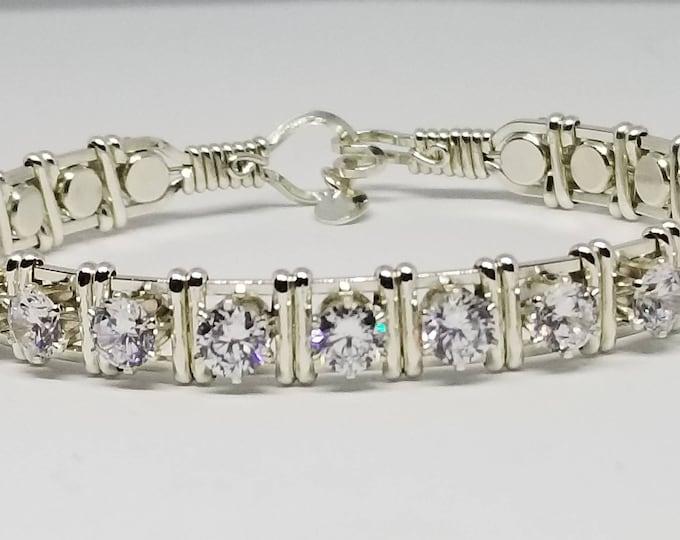 Silver Luxe, Silver CZ bracelet, Argentium Silver, Cubic Zirconia,