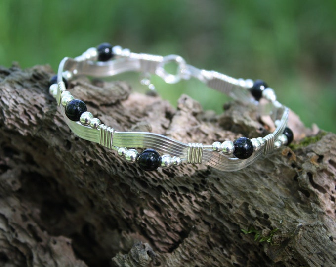 The River bracelet: Fine .935 Argentium Silver with black and silver beads bracelet wire wrapped wire jewelry