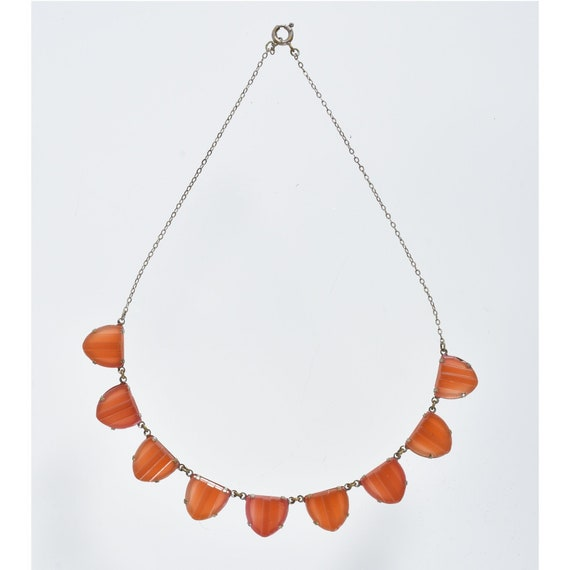 Vintage, Czech Molded Glass Necklace, Art Deco, Bo
